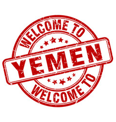 Welcome to yemen red round vintage stamp vector