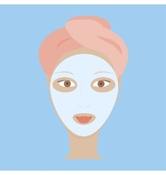 woman with white mask vector image