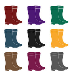 Yellow rubber waterproof boots for women to work vector