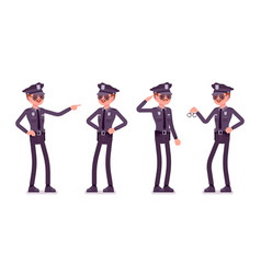 young happy policeman vector image vector image