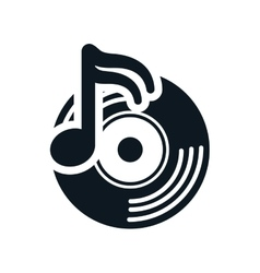 Vinyl music note sound dj icon graphic vector