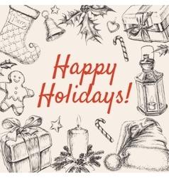 Christmas Greeting Happy Holidays vector image