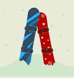 two snowboard in the snow vector image