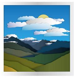 Mountain card paper vector