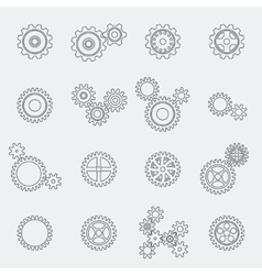 Cogs wheels and gears pictograms vector