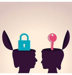Thinking concept-human head with lock and key symb vector