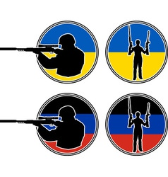 Ukrainian and pro russian soldiers vector