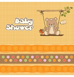 Baby greeting card with teddy bear vector