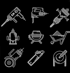 White outline icons for construction equipment vector