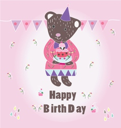 Sweet happy biryhday card with bear vector