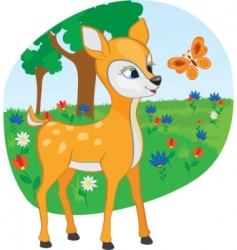 Young deer with a butterfly vector