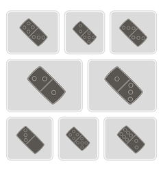 Monochrome icons with dominoes vector