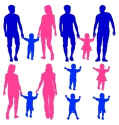 Blue pink silhouettes gay lesbian couples and vector