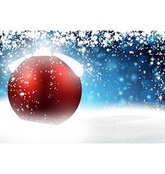 Red bauble over winter background vector image