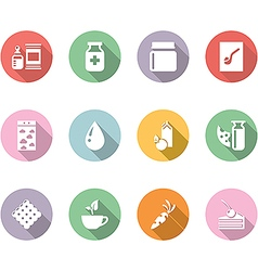 Icon set gastronomy color with long shadow vector