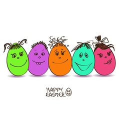 Easter card with funny eggs vector