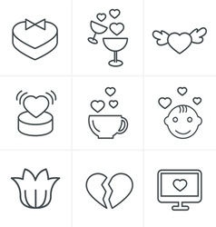 Line icons style love icons set design vector