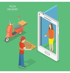 Pizza delivery flat isometric concept vector