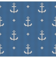 Anchor pattern on the wool knitted texture vector
