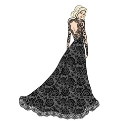 Woman in lace dress vector