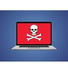 Computer hacked with skull symbol and danger alert vector