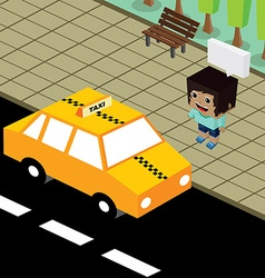 Cartoon theme isometric taxi vector