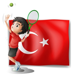 A tennis player in front of the flag of Turkey vector image vector image