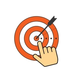 Abstract target icon and arrow in aim center hand vector image vector image