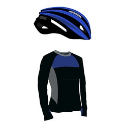 Blue bicycle helmet and shirt vector