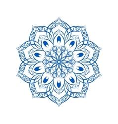 Blue Flower Mandala Over White vector image