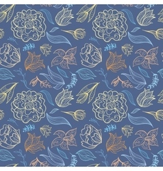 Blue Outline Floral Pattern vector image