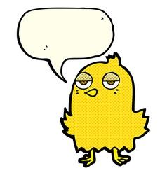 Cartoon bored bird with speech bubble vector