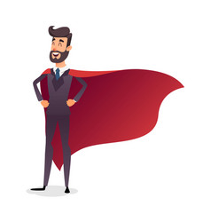 cartoon superhero standing with cape waving in the vector image