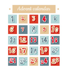 Christmas advent calendar in red blue and white vector