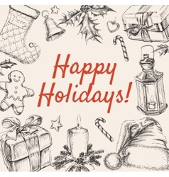Christmas greeting happy holidays vector