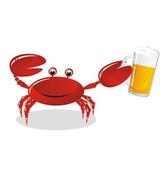 Crab holds beer vector