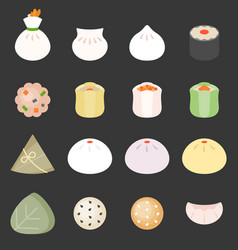 Dim sum cantonese food vector