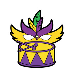 drum with mask mardi gras carnival icon image vector image