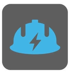 Electrician helmet rounded square icon vector