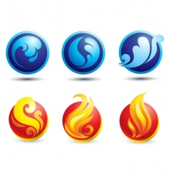 fire and water web icons vector image vector image