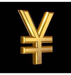 Golden Yen sign vector image
