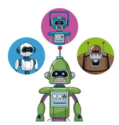 Green robot machine engineering with icons robots vector