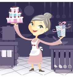 Happy grandmother in the kitchen with a birthday vector