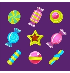 Hard Candy Colorful Simplified Icons Set vector image vector image