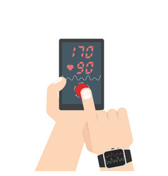 High blood pressure concept smart phone and smart vector