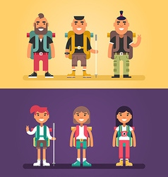 Hiking Concept Set of Flat Style Cartoon vector image