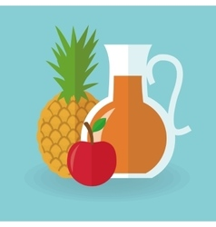 Juice drink pineapple and apple design vector