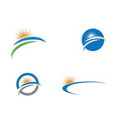 Logo template sun over horizon vector