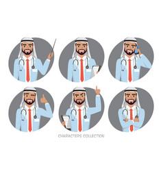 Muslim arabic doctor men character vector