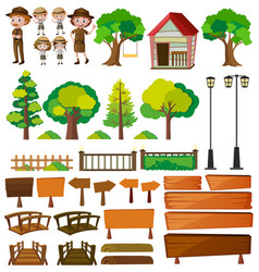 park rangers and tree products vector image